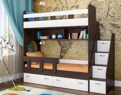 Двухэтажная кровать с выдвижными ящиками