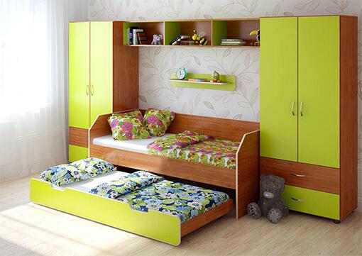 Набор мебели для двоих детей салатового цвета