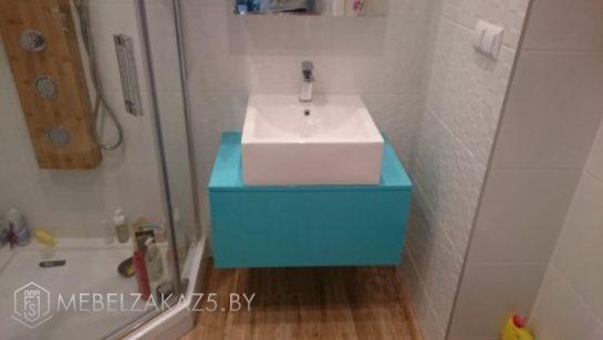 Подвесная тумба для ванной бирюзового цвета