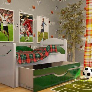 выдвижная кровать для детей от 3 лет в зеленом цвете