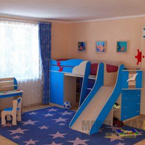 Кровать чердак для детей от 3 лет с горкой
