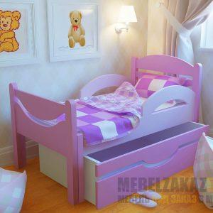 Кровать для детей от 3 лет с выдвижным ящиком для хранения