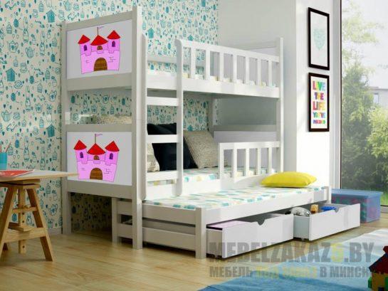 Детская двухъярусная выдвижная кровать из массива
