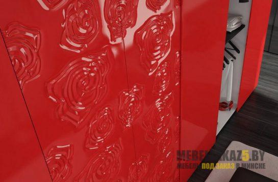 Шкафы-купе с 3д фасадами красный