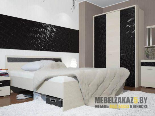 Комплект черно-белой мебели для спальни с 3д фасадами
