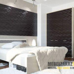 Темный набор мебели в спальню с 3д фасадами