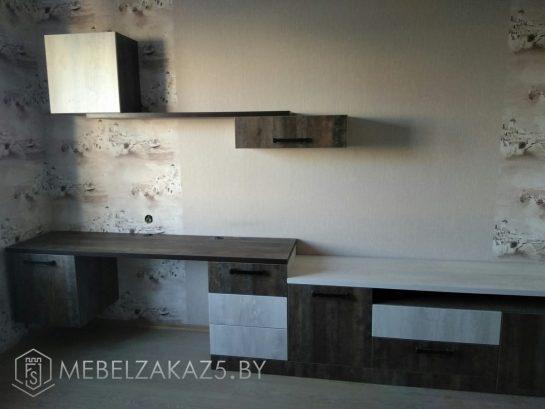 Письменный стол с приставной тумбой в комнату для подростка цвета венге
