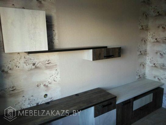 Удлиненная тумба и подвесные полки цвета венге в подростковую комнату