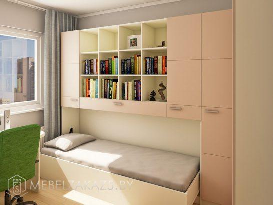 Корпусная мебель в подростковую комнату пастельного тона