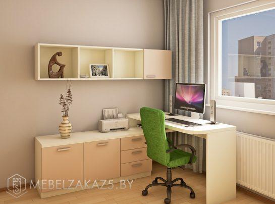 Рабочая зона в подростковую комнату в пастельных тонах с навесными полками
