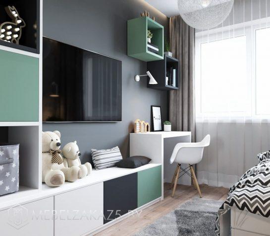Современная стенка в подростковую комнату с маленьким письменным столиком
