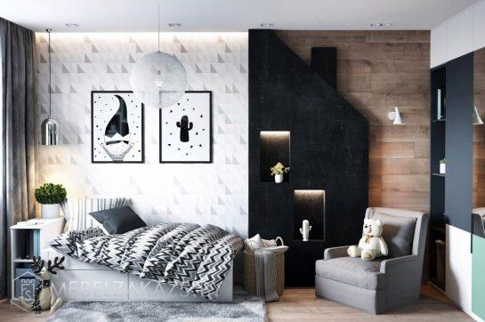Оригинальный декоративный шкаф в комнату подростка с кроватью