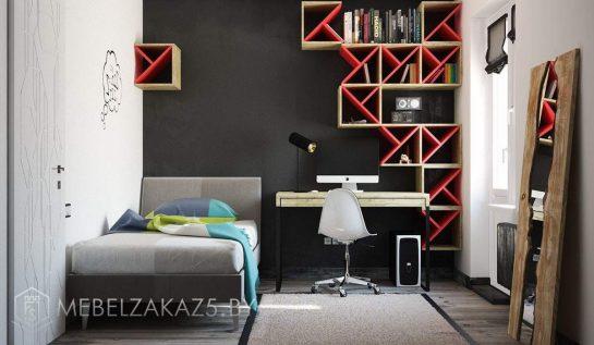 Ярко-красные декоративные полки с кроватью и рабочей зоной для подростка