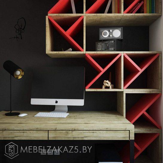 Оригинальные декоративные полки с ярко-красными вставками
