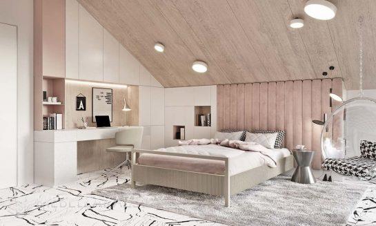 Двухспальная кровать с подвесными шкафчиками и рабочей зоной в стиле минимализм