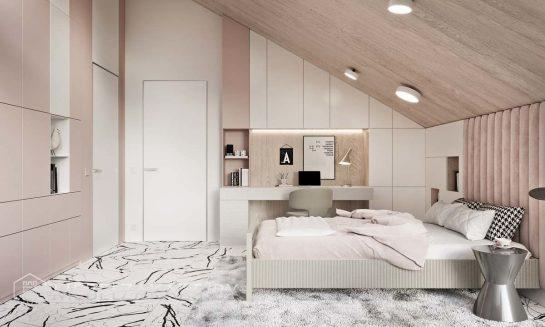 Классический комплект мебели в комнату подростка в кремовом цвете