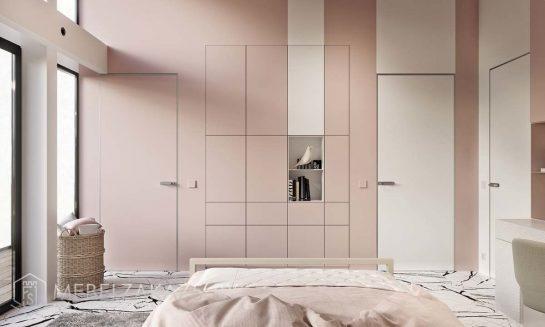 Встроенный распашной шкаф без ручек в стиле минимализм в подростковую комнату