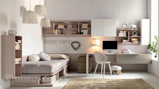 Комплект современной корпусной мебели в комнату для девочки-подростка