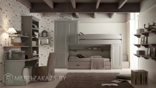 Комплект мебели в комнату для двух подростков в классическом стиле