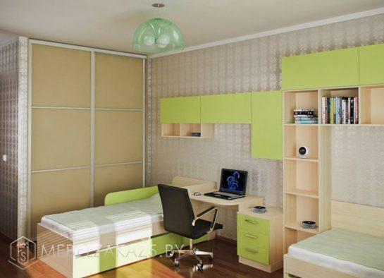 Современная яркая корпусная мебель в подростковую комнату