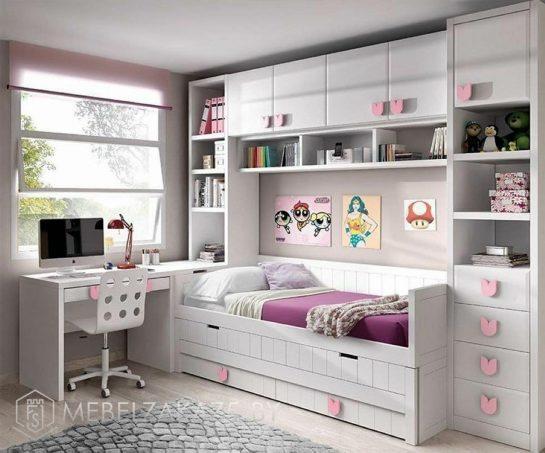 Современный набор мебели в детскую для девочки с рабочей зоной и спальным местом