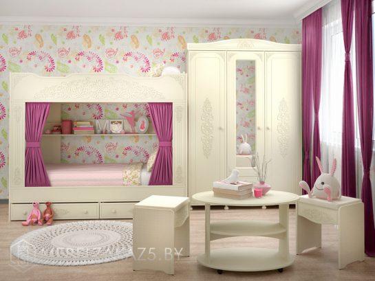 Набор классической мебели в детскую для девочки с двухуровневой кроватью и распашным шкафом