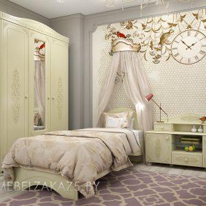 Узорчатый комплект мебели в детскую для девочки в классическом стиле