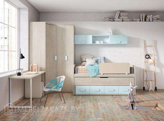 Современная детская мебель для девочки с угловым распашным шкафом и спальным местом