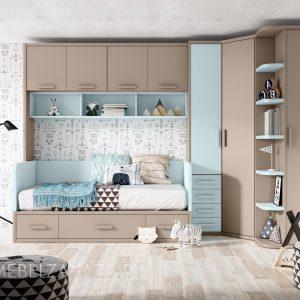 Современный набор детской мебели для девочки в коричнево-голубом цвете