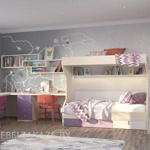 Мебель в комнату для девочки с двухъярусной кроватью и рабочей зоной на две персоны