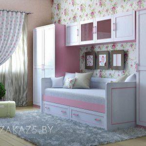 Корпусная мебель в детскую комнату для девочки в современном стиле