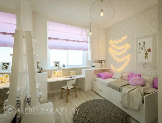 Современная мебель в комнату для девочки с навесным шкафчиком, кроватью и рабочей зоной