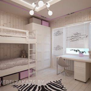 Комплект мебели в комнату для двух девочек в розовых тонах