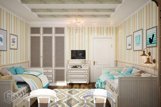 Набор мебели в детскую для двоих в классическом стиле