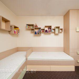 Детская комната для двоих детей под цвет дерева