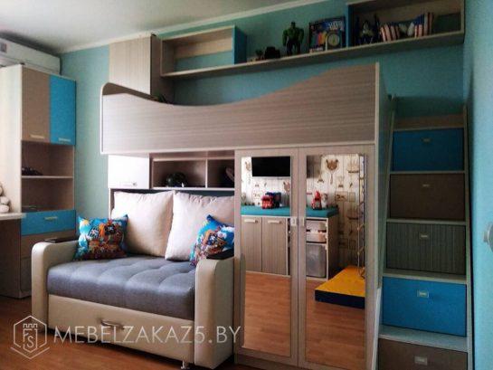 Современный набор мебели в маленькую комнату для мальчика