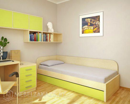 Односпальная кровать в детскую для мальчика с приставной тумбой и навесными шкафчиками