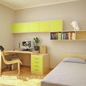 Современная мебель в комнату для мальчика в ярко-желтом цвете