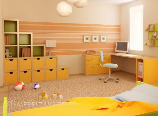 Современная ярко-желтая мебель в детскую для мальчика