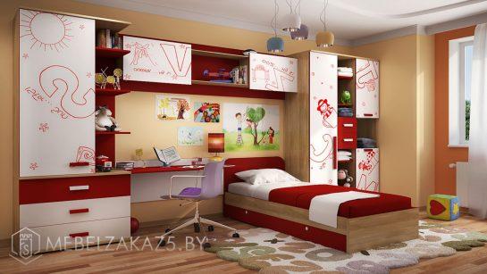 Современная корпусная мебель в комнату для мальчика красно-белого цвета
