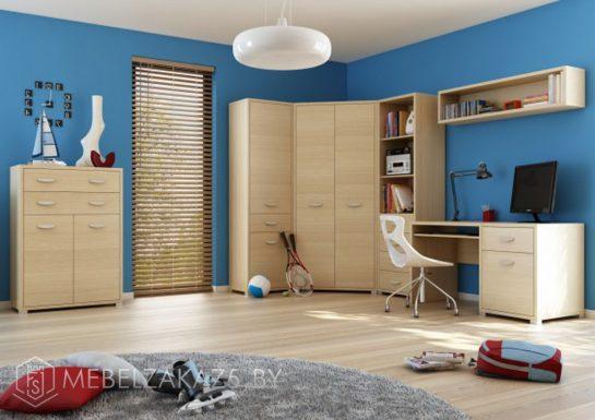 Набор корпусной мебели в комнату для мальчика под цвет дерева