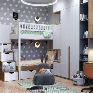 Современная мебель в детскую для мальчиков в сером цвете