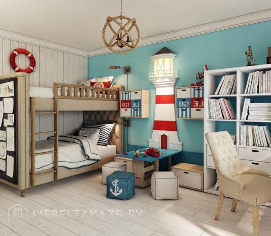 Набор корпусной мебели для мальчиков в морском стиле