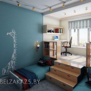 Современный комплект мебели в комнату для мальчиков с рабочей зоной на балконе