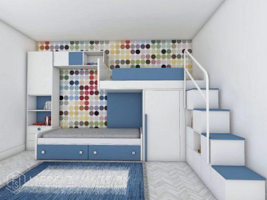 Большая двухъярусная кровать в детскую бело-синего цвета