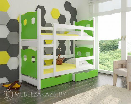 Яркая двухъярусная кровать желто-зеленого цвета