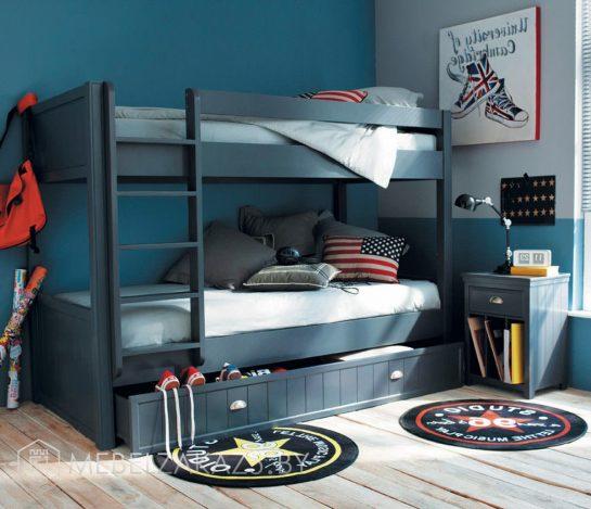 Двухъярусная детская кровать для мальчиков в темном цвете
