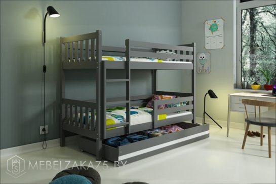 Темно-коричневая двухъярусная кровать в детскую