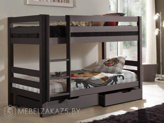 Современная двухъярусная кровать в детскую цвета венге
