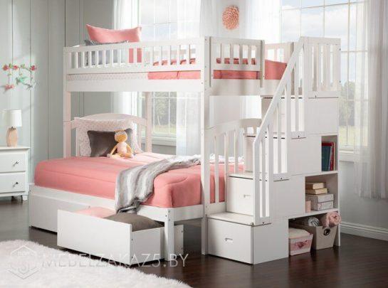 Современная двухъярусная кровать в детскую для девочек в постельных тонах